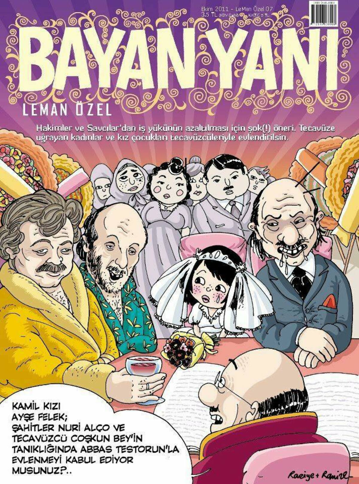 Cover from October 2011 of Bayan Yani by Ramize Erer illustrating the issue around women and girls forced to marry their rapist.